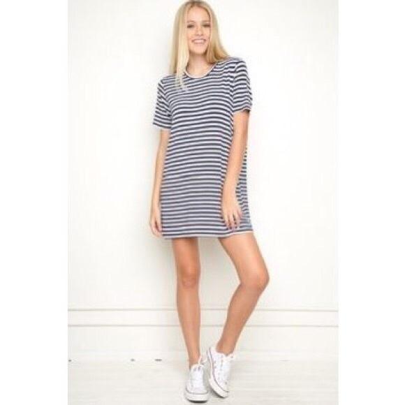 f1d72fdc6d8 Brandy Melville Dresses & Skirts - [Brandy Melville] Striped Black white  shirt dress